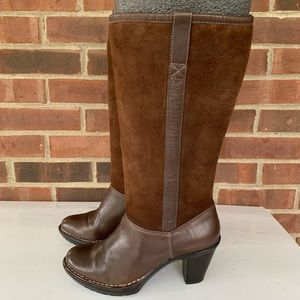 Sofft brown leather suede shearling lined boots